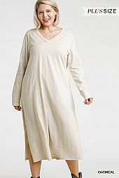 V-Neck Long Sleeve Maxi Dress