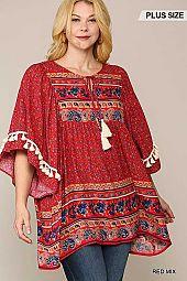Vintage Border Print Wide Sleeves Tunic Top