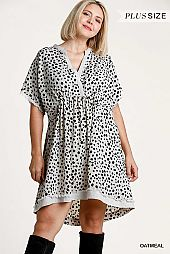 Dalmatian Print Short Sleeve Faux Wrap Dress