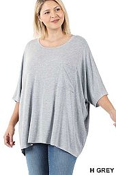 PLUS LUXE RAYON OVERSIZED FRONT POCKET TOP