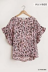 Animal Print Top with Ruffled Sleeves