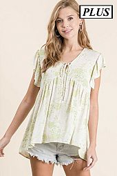 PLUS WOVEN FLORAL PRINTED TOP