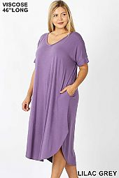 PLUS VISCOSE V NECK SHORT SLEEVE ROUND HEM DRESS