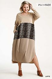 Animal Print Colorblock Long Sleeve Maxi Dress