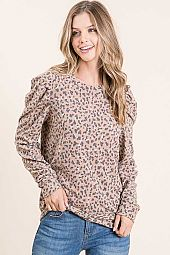 ANIMAL PRINT BRUSHED FRENCH TERRY WITH DETAIL TOP