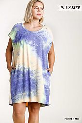 Tie-Dye Round Neck Pintuck Short Sleeve Dress