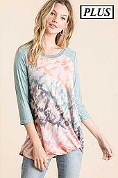 PLUS TIE DYE FRENCH TERRY TOP