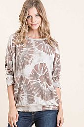 FLORAL PRINT FRENCH TERRY DOLMAN LONG SLEEVE TOP