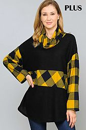 CHECKER PRINT COLOR BLOCK COWL NECK TOP