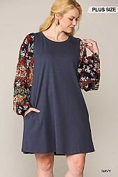 Patch Printed Dolman Sleeve Pullover Dress