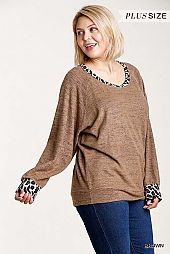 Brushed French Terry Animal Printed Trim Top