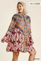 Multi-Print Trumpet Sleeve Dress