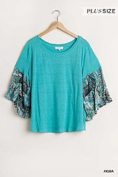 Paisley Printed and Metallic Threading Detailed Top