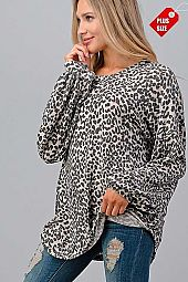 LEOPARD PUFF SLEEVE LOOSE FIT TOP PLUS