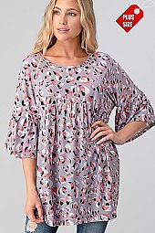 MULTI PRINT RUFFLE SLEEVE SHIRRED TUNIC PLUS