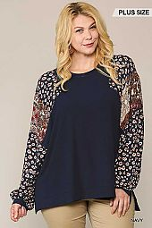 Animal and Paisley Print Mixed Tunic Top