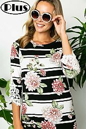 FLORAL CROCHET PATCH SLEEVE ROUND NECK PLUS TOP