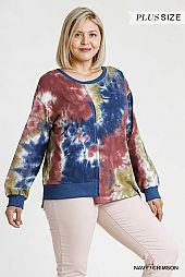 Tie-Dye Round Neck Long Sleeve Panel Top