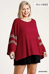 Animal Print Round Neck Waffle Knit Top