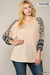 Animal Mixed Print Waffle Knit Top