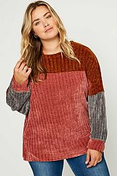Ribbed Colorblock Pullover Knit Top