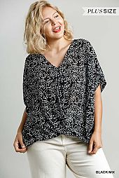 Sheer Star Dotted V-Neck Short Sleeve Top