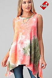 TIE DYE KEYHOLE DETAIL SLIT SIDES TOP PLUS