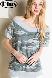 TERRY SOLID CAMOUFLAGE MIX WILD V NECK PLUS TOP
