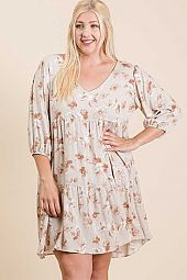 Plus Floral V neck Dress