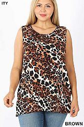 PLUS ITY LEOPARD PRINT SLEEVELESS SIDE SLIT TOP
