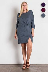 Plus Size Knit Solid Pleated Short Dress