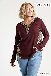 Animal Print Trim Waffle Knit Half Button Top