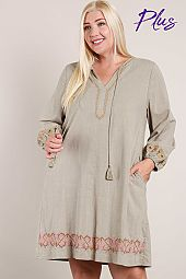 Long Sleeve Embroidered Peasant Dress