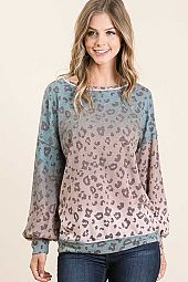 MIXED FRENCH TERRY ROUND NECK LONG SLEEVE TOP