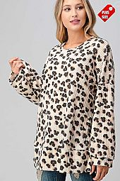 LEOPARD WIDE SLEEVE SLIT BANDED TOP PLUS