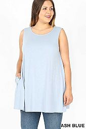 PLUS SLEEVELESS BOAT NECK FLARED TOP WITH POCKETS