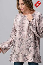 SNAKE PRINT  WIDE SLEEVE SLIT BAND TOP PLUS