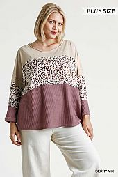 Wide Round Neck Animal Print Colorblock Waffle Knit Top