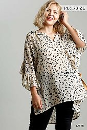 Sheer Animal Print Split Neck Ruffle Sleeve Tunic