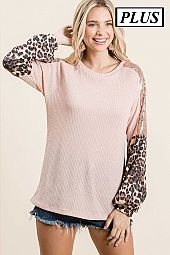 SOLID WAFFLE WITH CHEETAH AND SEQUENCE CONTRAST TOP