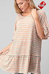 MULTI STRIPES  RUFFLE SLEEVE BOTTOM TOP PLUS