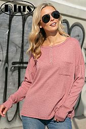 WAFFLE TWO TONE SOLID BUTTON BOXY HENLEY TOP
