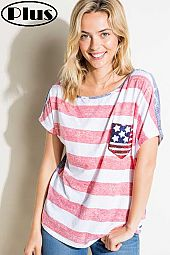 4TH OF JULY FLAG POCKET ONE SHOULDER BOXY PLUS TOP