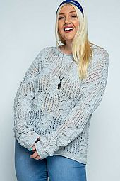 Boat Neck Knit Pattern Pullover Sweater