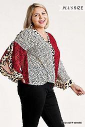 Multi-Animal Print Split Ruffled Sleeve Surplice Top