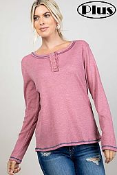 TWO TONE WAFFLE SOLID COLOR STITCH HENLEY PLUS TOP