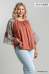 Floral and Animal Mixed Printed Bell Sleeve Top