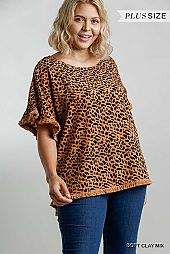 Animal Print Short Bell Sleeve Top