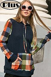 WAFFLE SOLID PLAID MIXED HOODIE POCKET PLUS TOP