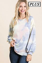 TIE DYE FRENCH TERRY SLEEVE DETAIL TOP